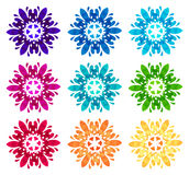 Watercolour pattern - Set of nine abstract flowers Royalty Free Stock Photography