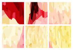 Watercolour pattern - Set of red-yellow patterns Royalty Free Stock Photography