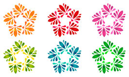 Watercolour pattern - Set of six abstract flowers Royalty Free Stock Image