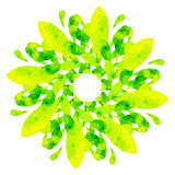 Watercolour pattern - Yellow-green abstract flower Royalty Free Stock Image