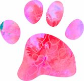 Watercolour Paw Silhouette Royalty Free Stock Image