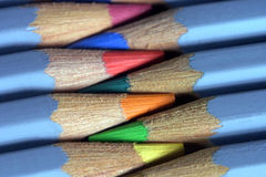 Watercolour pencils. Coloured pencils used for watercolour pictures on canvas or paper. Very close macro shot Royalty Free Stock Photos