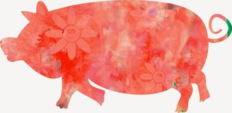 Watercolour Pig Stock Photography