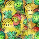 Watercolour Pineapple Fruit Textile Painting. A seamless watercolour style textile print with pineapple fruit with happy smiling faces Stock Photo
