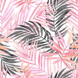 Watercolour pink colored and graphic palm leaf painting. Royalty Free Stock Photos