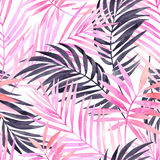 Watercolour pink colored and graphic palm leaf painting. Watercolor tropical leaves seamless pattern. Watercolour pink colored and graphic palm leaf painting Stock Image