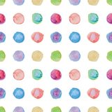 Watercolour polka dot seamless pattern. Stock Photos
