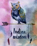 Watercolour poster with owl on arrow with feather. Watercolour poster with owl on Native American arrow with feather royalty free stock photos