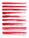 watercolour Reeks van abstracte rode die waterverfslag op witte achtergrond wordt geïsoleerd royalty-vrije illustratie