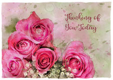 Watercolour Roses Thinking of You Greeting vector illustration