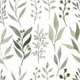 Watercolour seamless pattern with elements of plants. Hand drawn the watercolour texture. Cute design for wallpaper, textile stock photography