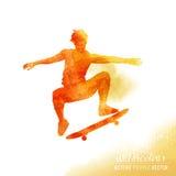 Watercolour Skater Guy Vector Stock Images