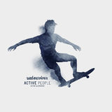 Watercolour Skater Guy Vector Stock Photography