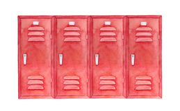 Watercolour sketch of colorful stylish lockers. Wide square shape, bright red color, steel handles. Hand drawn water colour graphic painting on white backdrop vector illustration