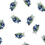 Watercolour sowy chaosu błękitny bezszwowy wzór na bielu Zdjęcia Stock