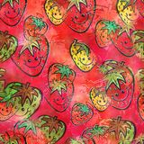 Watercolour Strawberry Fruit Background Painting. A seamless watercolour textile design with happy cartoon fruit Royalty Free Stock Images