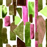 Watercolour stripe background. Bauhaus pattern. Green geometric watercolor abstract seamless print. Watercolour stripe background. Kaleidoscope lines Stock Illustration