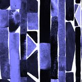 Watercolour stripe background. Bauhaus pattern. Indigo blue geometric watercolor abstract seamless print. Watercolour stripe background. Kaleidoscope lines royalty free illustration