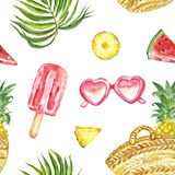 Watercolour summer pattern with fresh fruits, sunglasses, ice posicles and tropical palm leaves on white background. Watercolor summer seamless pattern with vector illustration