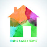 Watercolour sweet home icon on white background Stock Photography