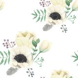 Watercolour Winter Hand Painted Flower Seamless Repeat Pattern. Hand-painted watercolor clip art high quality Seamless Repeat Pattern royalty free illustration