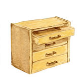 Watercolour wooden Brown chest of drawers Royalty Free Stock Photo