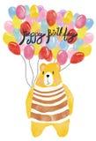 Watercolour wszystkiego najlepszego z okazji urodzin karta, miś pluszowy trzyma colourful balony royalty ilustracja
