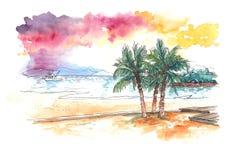 Watercolourmalerei des Sonnenuntergangs am tropischen Strand lizenzfreie abbildung