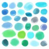 Watercolourmarkierungskreisbeschaffenheiten gezeichnet Stilvolle Elemente für Design Vektorblaukreise Stockbilder