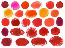 Watercolourmarkierungskreisvektor masert Ähnliches  dem Lippenstift der Frauen, Kosmetik Helle rote Farben der Gestaltungselement Stockfoto