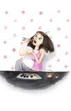 Watercolourmeisje die Sushi eten Stock Afbeelding