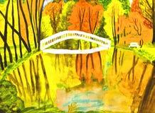 watercolours картины ландшафта осени Стоковые Фото