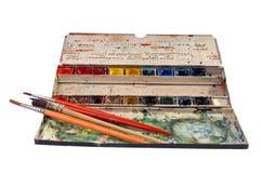 Watercolours degli artisti fotografia stock