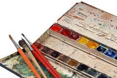 Watercolours dos artistas imagens de stock