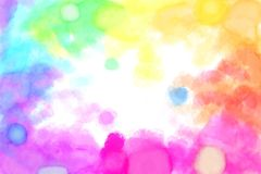 Rainbow Watercolour Blots Background. Watercolours in the Rainbow Spectrum around the edge of the Background Royalty Free Stock Photo