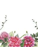 Watercolourweinlese-Blumenanordnung Stockfotografie