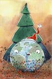 Watercolr-Weihnachtskarte Lizenzfreies Stockfoto