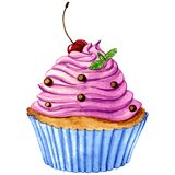 Watercoor cupcake Royalty Free Stock Photos