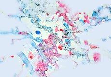 Watercor油漆灰色蓝色桃红色生动的形状、形式和闪耀的光,抽象背景 库存照片