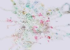 Watercolor paint gray pink shapes, forms and sparkling lights, abstract background. Watercolor gray pink violet soft pastel shapes and blue white pink golden Royalty Free Stock Images