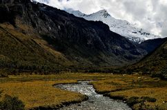 Watercourse in an andean valley Stock Photo