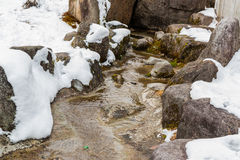 Watercourse over stone with snow. Royalty Free Stock Photography