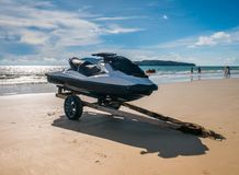 Watercraft in the Beach not in Operational. With blue sky and waves. Located in Langkawi Malaysia stock image
