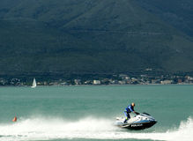 Watercraft polizia. Italian Police watercraft at high speed, Gaeta (Italy Stock Photos