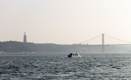 Watercraft Sails in Tagus River stock photography