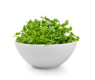 Watercress in bowl on white background Stock Photo