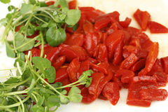 Watercress and Red Peppers Royalty Free Stock Photo