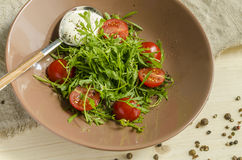 Watercress Salad With Cherry Tomatoes And Sour Cream. Stock Image