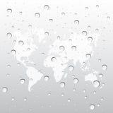 Waterdalingen met kaartwereld Royalty-vrije Stock Afbeelding