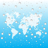 Waterdalingen met kaartwereld Royalty-vrije Stock Foto's